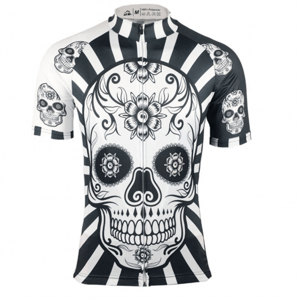 dia de los muertos cycling jersey skull black white skeleton