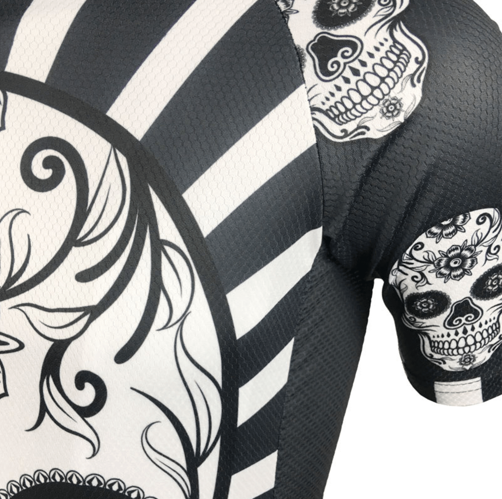 dia de los muertos cycling jersey skull black white skeleton
