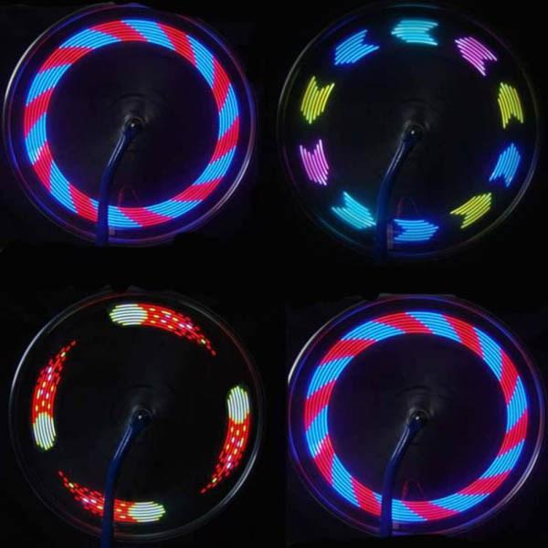 bike wheel light led hologram design multicolor