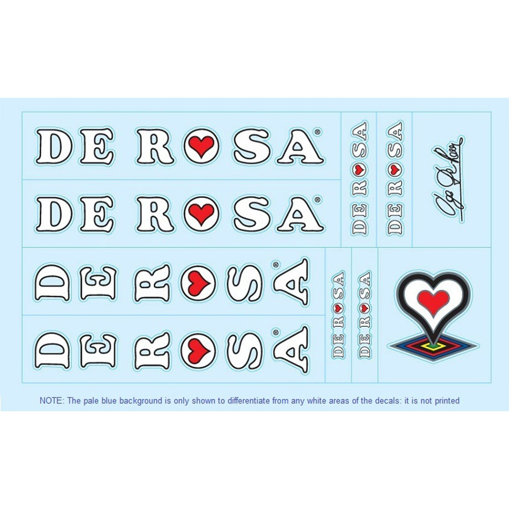 DE ROSA Road Bicycle Frame Decal Stickers Graphic Set Adhesive Vinyl White
