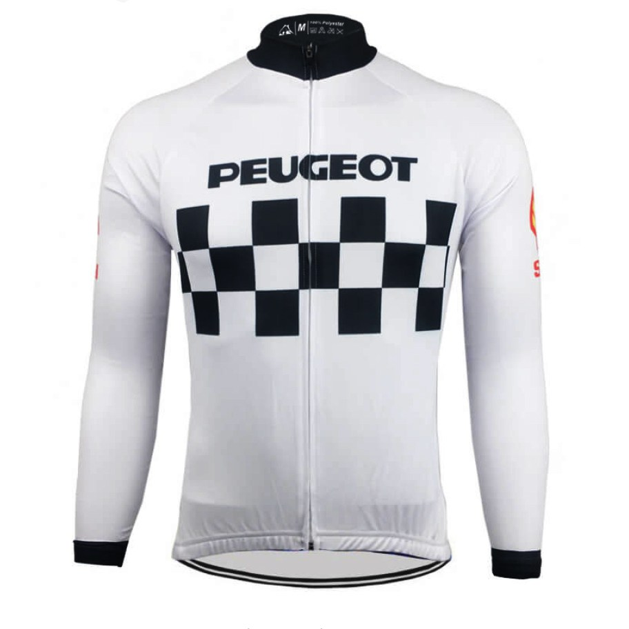 vintage retro cycling jersey peugeot long sleeves