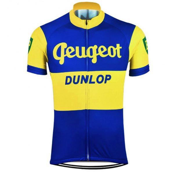 vintage retro cycling jersey peugeot dunlop