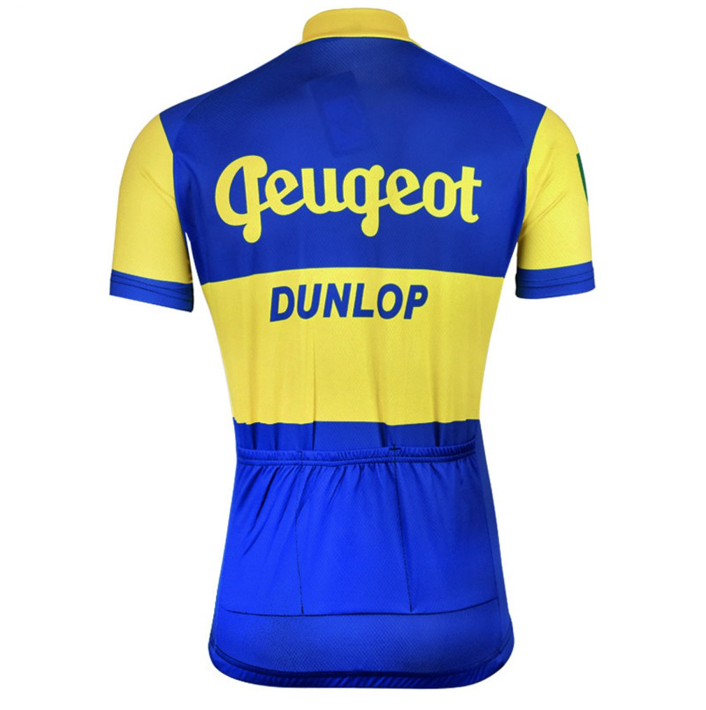 vintage retro cycling jersey peugeot dunlop