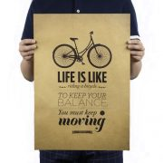 paper kraft poster retro bike cycling life is like balance