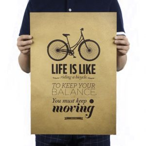 paper kraft poster retro bike cycling life is like balance